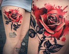Love the splatter - Tattoo Ideas Mini Tattoos, Girly Tattoos, Love Tattoos, New Tattoos, Tatoo Rose, Skull Rose Tattoos, Body Art Tattoos, Splatter Tattoo, Brust Tattoo