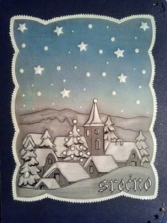 MOOI Christmas Cards Drawing, Christmas Scenes, Vintage Christmas Cards, Xmas Cards, Salt Dough Christmas Decorations, Christmas Crafts, Christmas Tree Village, Parchment Cards, Butterfly Template