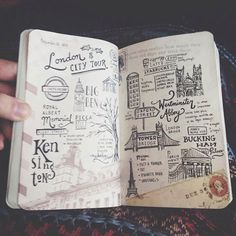Travel journal showcase featuring freehand lettering and illustrations