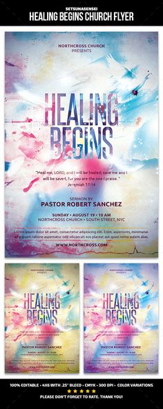 Healing Begins Church Flyer — Photoshop PSD #shining #lights • Available here → https://graphicriver.net/item/healing-begins-church-flyer/12244469?ref=pxcr