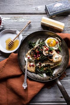 Buttered Hazelnut Crepes with Caramelized Wild Mushrooms, Kale and Goat Cheese
