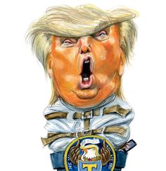 """Taibbi knows his subject inside out and writes with authority. Agree or disagree, his writing elevates my thinking. Sept 2017 Matt Taibbi Rolling Stone """"The Madness of Donald Trump. Funny Caricatures, Celebrity Caricatures, Political Satire, Political Cartoons, Donald Trump Karikatur, Zombie Life, Trump Cartoons, Master Of Puppets, Comic"""