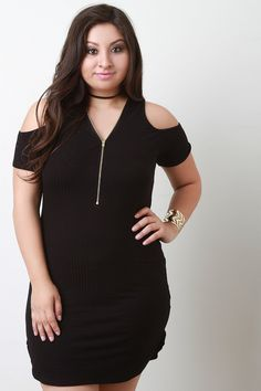 Soft Knit Ribbed Cold Shoulders Dress-Plus Sizes, Dresses +-I Want That Style