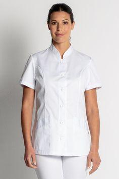 Blouse blanche courte Col Mao - Tunique de travail - Mylookpro School Pinafore, Beauty Uniforms, New Nurse, Medical Uniforms, Nursing Clothes, Sustainable Fashion, Scrubs, Chef Jackets, Men Casual
