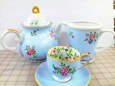 painted and decoupage napkin teapots