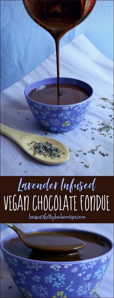 Deliciously simple vegan chocolate fondue infused with fresh lavender!