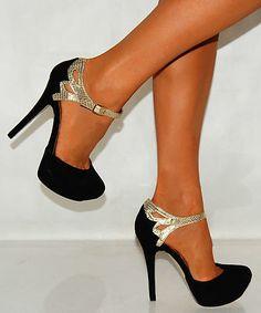 Black Suede Gold Snake Print Strappy Sandals Party Platforms High Heels Shoes | eBay