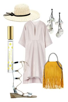 A loose, airy silhouette lends vacation vibes to this versatile dress. A straw sun hat, iridescent shell earrings, and metallic gladiator flats further the breezy, bohemian feel.   Tory Burch Sasha Tunic Dress, $1295, toryburch.com; Forever21 Wide-Brimmed Straw Hat, $14.90, forever21.com; H&M Shell Earrings, $12.99, hm.com; Stella McCartney Falabella Shaggy Deer Fringed Mini Tote, $1865, stellamccartney.com; Ancient Greek Sandal Thebes Wedge, $430, ancient-greek-sandal.com; Marc Jacobs…