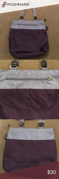 Mosey 28 plastic bottle rehabilitated purple tote Purple two tone bag with zipper closure. Open deep side pockets exterior zipper inner. Interior zipper.  Seatbelt material strong handles. Recycled product check out the mosey mission! mosey Bags Totes