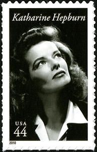 On May 12, 2010, in Old Saybrook, Connecticut, the Postal Service issued a 44-cent Katharine Hepburn commemorative stamp.    The stamp, designed by Derry Noyes of Washington, DC, as part of the Legends in Hollywood series, honors Katharine Hepburn, one of America's most fascinating and enduring film stars. The portrait used is a publicity still from the film 'Woman of the Year' (MGM, 1942).
