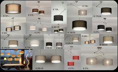 Huisdecoratie interieur verlichting wonen . Hanglampen stoffen lampenkappen voor in de woonkamer of keuken voor eettafels salontafel of tafel . In de kleuren taupe zwart grijs antraciet wit of bruin . www.rietveldlicht.nl  webwinkel@rietveldlicht. nl