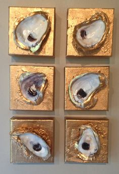 IDEA_____Signature gold oyster shell on textured gold canvas. Measures artist signature and date on back. Seashell Art, Seashell Crafts, Beach Crafts, Diy Crafts, Oyster Shell Crafts, Oyster Shells, Shell Decorations, Gold Canvas, Painted Shells