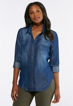 4162acf0 Cato Fashions Embellished Chambray Shirt #CatoFashions Chambray, Your  Style, What To Wear,