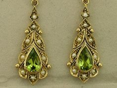 Victorian style GENUINE 9ct Solid Gold NATURAL Peridot Pearl Earrings