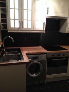 My mini kitchen, ikea off white faktum and numerar beech worktops