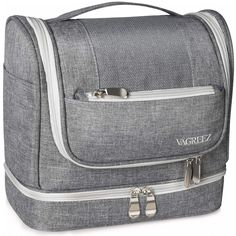 Toiletry Bag, VAGREEZ Upgraded Hanging Travel Toiletry Organizer Kit with Heavy-duty Zippers Waterproof Comestic Bag Dop Kit for Men or Women (Light-Grey) Mens Travel, Travel Bags For Women, Travel Necessities, Travel Toiletries, Large Toiletry Bag, Travel Cosmetic Bags, Bag Organization, Bag Storage, Zippers