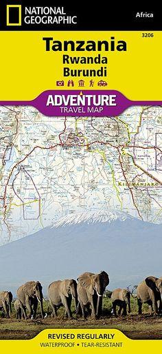 tanzania rwanda and burundi adventure map 3206 by national geographic maps