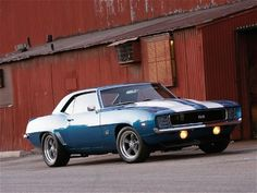 1969 Chevy Camaro with a 383 under the hood #blue