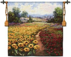Tuscan Pleasures I Sunflower & Poppy Field Tapestry Wall Hanging #BeddingNMore #Tuscan #Decor #Decorating #Tapestry #Art