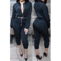 USD12.49Chic Turndown Collar Long Sleeves Solid Black Polyester One-piece Regular Jumpsuit