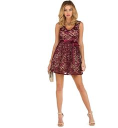 Burgundy Fall In Love Lace Dress