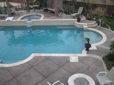 Our stamped and colored concrete is a perfect option for your pool deck surface. Stamped concrete pool decks are gaining … Inground Pool Designs, Swimming Pool Decks, My Pool, Lap Pools, Indoor Pools, Pool Coping, Concrete Patios, Backyard Pool Landscaping, Backyard Pool Designs