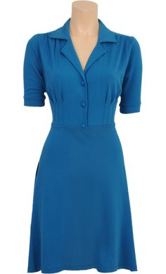 Vintage Inspired Autumn   ◦   Diner Dress - Milano Crepe Deep Sky Blue   ◦   King Louie AW14