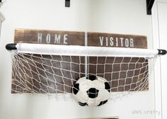 She's crafty: Boys Room: basketball net toy storage Soccer Bedroom, Boys Bedroom Decor, Bedroom Ideas, Ball Storage, Toy Storage, Storage Area, Garage Storage, Room Themes, Boy Room