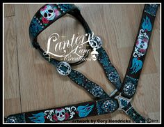 Painted sugar skull/swallow custom tack set