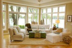 Lake Home - traditional - living room - Kitty Interior Design llc