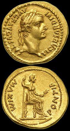 Roman Gold Aureus of Tiberius, (AD 14-37). Lugdunum (Lyon, France)