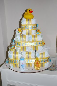 Cute diaper cake at a Duck themed baby shower #babyshower #duck