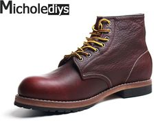 68.89$  Watch now - http://aligfy.shopchina.info/go.php?t=32718936305 - 2017 The Handmade Spring High quality Male Leather Boots for Martin boots Japanese Goodyear Mens Work Shoes RED Wing Shoes  #magazineonline