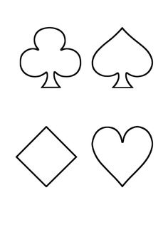 4 playing card suit coloring pages for Playing cards coloring pages