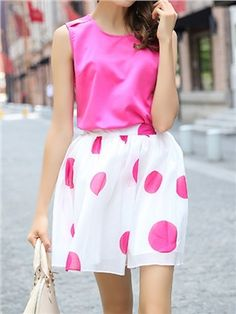 Sweet Color Round Neck Sleeveless Skirt Suits
