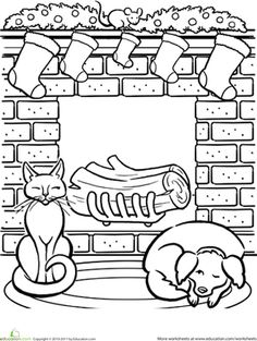 Christmas First Grade Holiday Worksheets: Christmas Fireplace Coloring Page