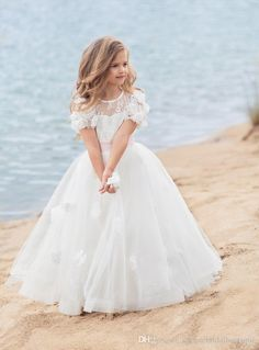 vestidos de primera comunion 2017 Papilio Kids First Communion Dresses for Little Girls Long Cute Flower Girl Dress with Hand Made Flowers