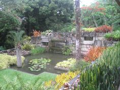 Water feature in front of the main house at Sitio Burle Marx in Rio de Janeiro.