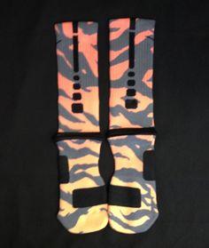 """""""Tiger"""" Nike Elite Socks from Sock Insanity on Storenvy Nike Basketball Socks, Basketball Shorts Girls, Soccer Gear, Basketball Stuff, Sexy Socks, Cool Socks, Awesome Socks, Nike Elite Socks, Nike Socks"""