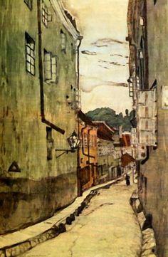 MSTISLAV DOBUZHINSKY Glassmakers Street in Vilno (1906)