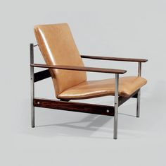 """""""Modell 1001 AF"""" by Sven Ivar Dysthe, palisander and ox-hide leather with chrome steel, Norway ca 1960"""