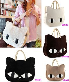 Cat Head Style Plush Shoulder Bag Handbag Four Colors