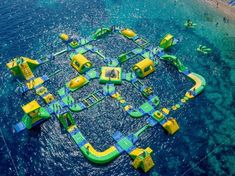 Inflatable Obstacle Course, Inflatable Water Park, Inflatable Island, Water Playground, Playground Design, Park Playground, Albania, Cool Playgrounds, Cool Pool Floats