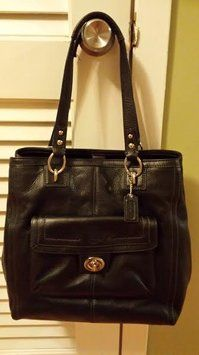 Coach Pebbled Leather Tote in Black
