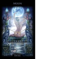 """Stunning """"Moon"""" card from the Legacy of the Divine Tarot--one of our favorite decks for beginners and masters of tarot. The Moon card suggests things are not always as they appear."""