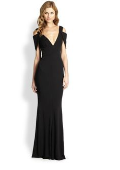"""Pin for Later: Say """"I Do"""" to the Best Bridesmaid Dresses in Every Color Black ABS Deep V Gown ($390)"""