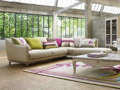 Sectional fabric sofa YLANG by ROCHE BOBOIS