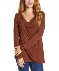 Cocoa Brown Drape Top on #zulily! #zulilyfinds