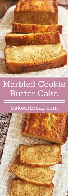 Sweet vanilla cake and cookie butter get swirled together in this soft, sweet, delightful Marbled Cookie Butter Cake! - Bake or Break ~ http://www.bakeorbreak.com