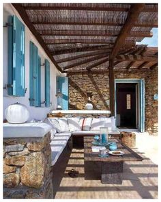 Now, THAT's what the veranda of a beach house should look like. House of Turquoise: Mykonos Panormos Villas Outdoor Rooms, Outdoor Living, Outdoor Decor, Outdoor Seating, Rustic Outdoor, Outdoor Areas, Outdoor Lounge, Indoor Outdoor, Villa Design